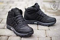 Зимние мужские ботинки Adidas Outdoor Winter Hiker II кожа мех черные