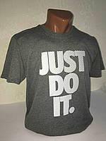 """Серая мужская футболка 100% хлопок """"Nike"""" с логотипом  ФМ-4"""