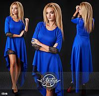 Стильное коктельное   платье с кружевом, цвет электрик. Арт-9311/41