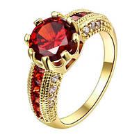 Позолоченное кольцо с цирконами р 17,18,19 код 401