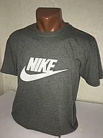 """Серая мужская футболка 100% хлопок """"Nike"""" с логотипом  ФМ-6"""