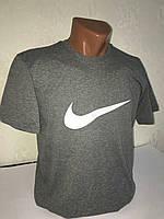 """Серая мужская футболка 100% хлопок """"Nike"""" с логотипом  ФМ-7"""