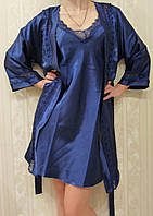 Комплект ночная сорочка и халат атласный синий Jasmin ,размер S,M,L,XL