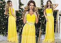 Шикарное желтое  вечернее платье с атласным поясом со стразами. Арт-9315/65