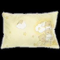 """Детская подушка """"Мишка на лестнице"""" на силиконе, гипоаллергенная, верх хлопок, 58х38 см, ТМ Ромашка"""