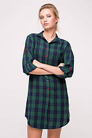 Платье-рубашка в клетку POLO зеленая