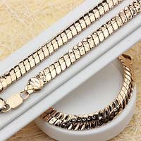016-0355 - Комплект: цепочка (60 см) + браслет (21 см)  плетение Клеопатра розовая позолота