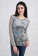 Модная кофта из ангоры и трикотажа спереди с цветочным принтом