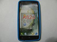 Чехол силиконовый + защитная плёнка для телефона смартфона Lenovo A820 синий