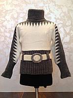 Вязаный ангоровый свитер для девочек Пояс