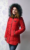 Зимняя женская куртка Листочка красного цвета