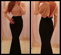 Платье рыбка Беж/Чёрный