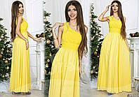 Желтое  длинное вечернее платье со стразами на плече. Арт-9323/65