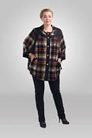 Женское легкое пальто - пончо большого размера клетка