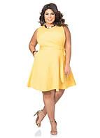 Нежное клешное трикотажное платье большого размера