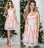 Нарядное нежно-розовое платье с гипюром на сетке, пояс со стразами. Арт-9326/65