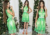 Нарядное нежно-зеленое  платье с   гипюром на сетке, пояс со стразами. Арт-9326/65