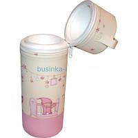 Термоконтейнер для одной бутылочки розовый.