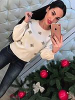 Женский модный свитер с камнями (3 цвета)