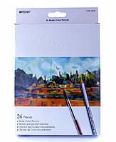 Карандаши цветные 36 цветов MARCO 7120-36CB Raffine Aquarelle, металлизированные, акварельные с кисточкой