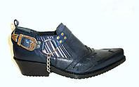 Настоящие Казаки Etor мужские туфли синие кожа с рептилией