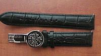 Ремешок для мужских часов Patek Philippe Sky Moon черного цвета со стальной клипсой