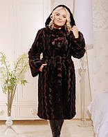 Шуба женская длинна Маргарита бордо, норковая шуба