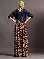 Леопардовая юбка в пол из шифона на подкладе