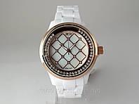 Часы Alberto Kavalli белый браслет, бегущие кристаллы