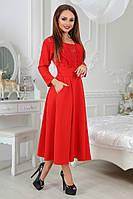 Платье миди с кружевной вставкой на груди,в трех расцветках   4050