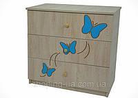 Детский комод BABY BOO гравированная голубая бабочка