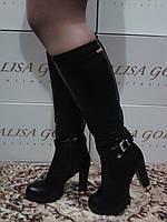 Высокие женские модные зимние сапоги на каблуке.р.36-40.