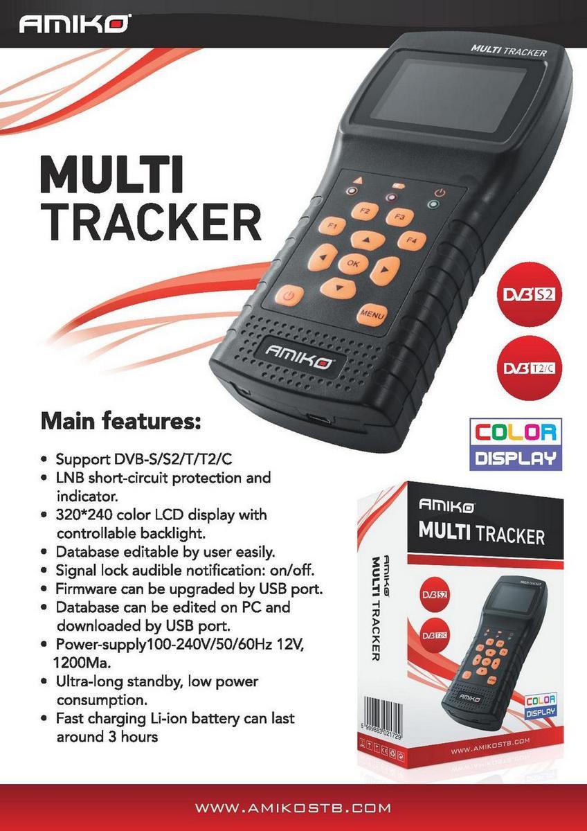 Прибор для настройки сигнала DVB-S/T/T2/C/S2 Amiko Multitracker S2/T2/C
