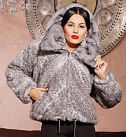 Норковая шуба женская Летучая мышь серый леопард, распродажа шуб