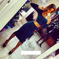 Костюм трикотажный топ и юбка синего цвета