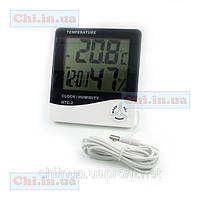Термометр с выносным датчиком, гигрометр, часы, будильник HTC-2