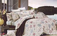 Постельное белье 200х230, мако сатин. Стильный бежевый набор с цветами и полосками.