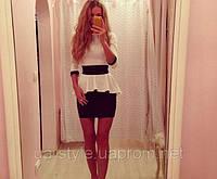 Платье трикотажное черная юбка белая блуза с баской
