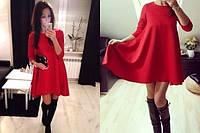 Платье трикотажное свободного кроя красное