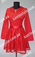 Платье подростковое красного цвета с гипюром