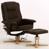 Массажное кресло + пуф REGOline с подогревом коричневое