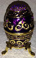 Шкатулка-сувенир ювелирная для украшений и драгоценностей Яйцо Фаберже со стразами, металлическая