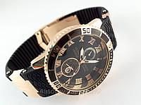 Мужские часы - Ulysse Nardin - LeLocle на черном каучуковом ремешке с вращающимся безелем, цвет золото