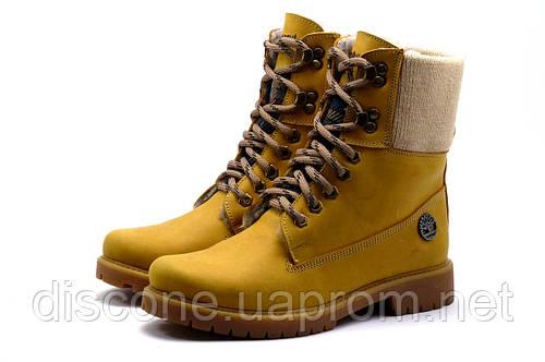 Зимние ботинки Timberland высокие, унисекс, песочные, натуральная кожа