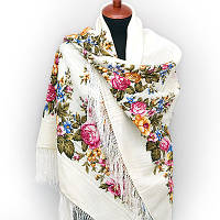 """Платок шерстяной с просновками и шелковой бахромой """"Весеннее цветение"""""""