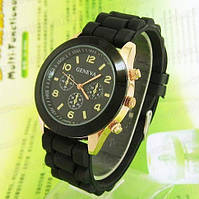 Женские кварцевые часы GENEVA Женева водозащитные с силиконовым ремешком черные, женские часы фирмы