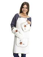 Кухонный набор кремовый фартук, прихватка, рукавичка.