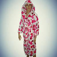 Женский халат с капюшоном - длинный -велюр-махра - Турция     pr-hj063