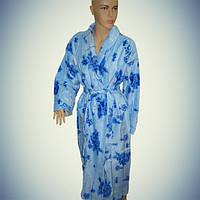 Женский халат с воротником - длинный - велюр-махра - Турция      pr-hj074