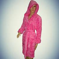 Женский халат с капюшоном - короткий - софт - Турция   pr-hj097